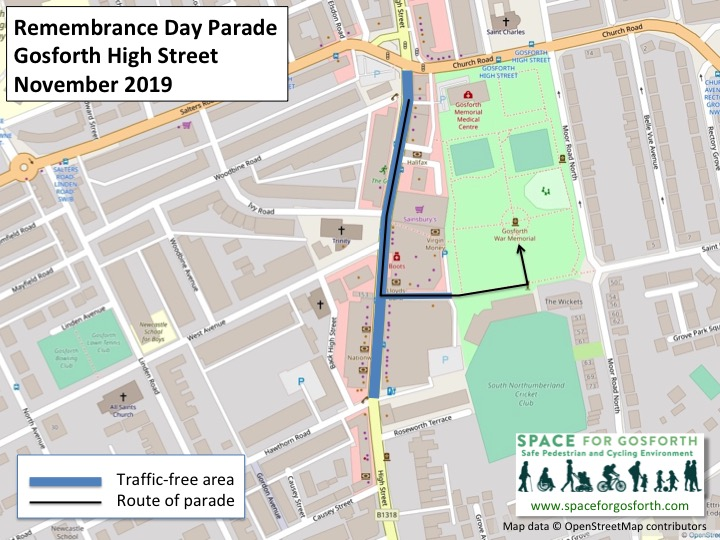 Map of Gosforth High Street showing the traffic-free area and route of the Remembrance Sunday parade.