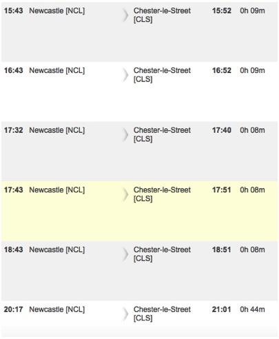 Timetable for trains from Newcastle to Chester-le-Street in the evening.