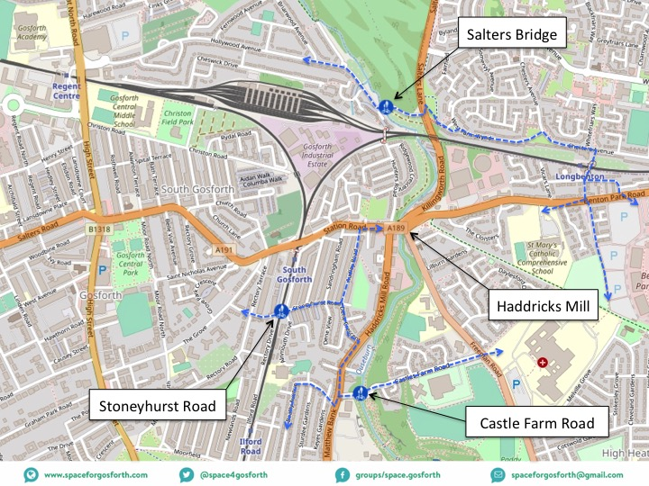 Map of routes across the Ouseburn via local bridges