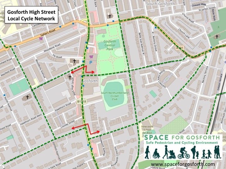 A possible cycle network to access Gosforth High Street