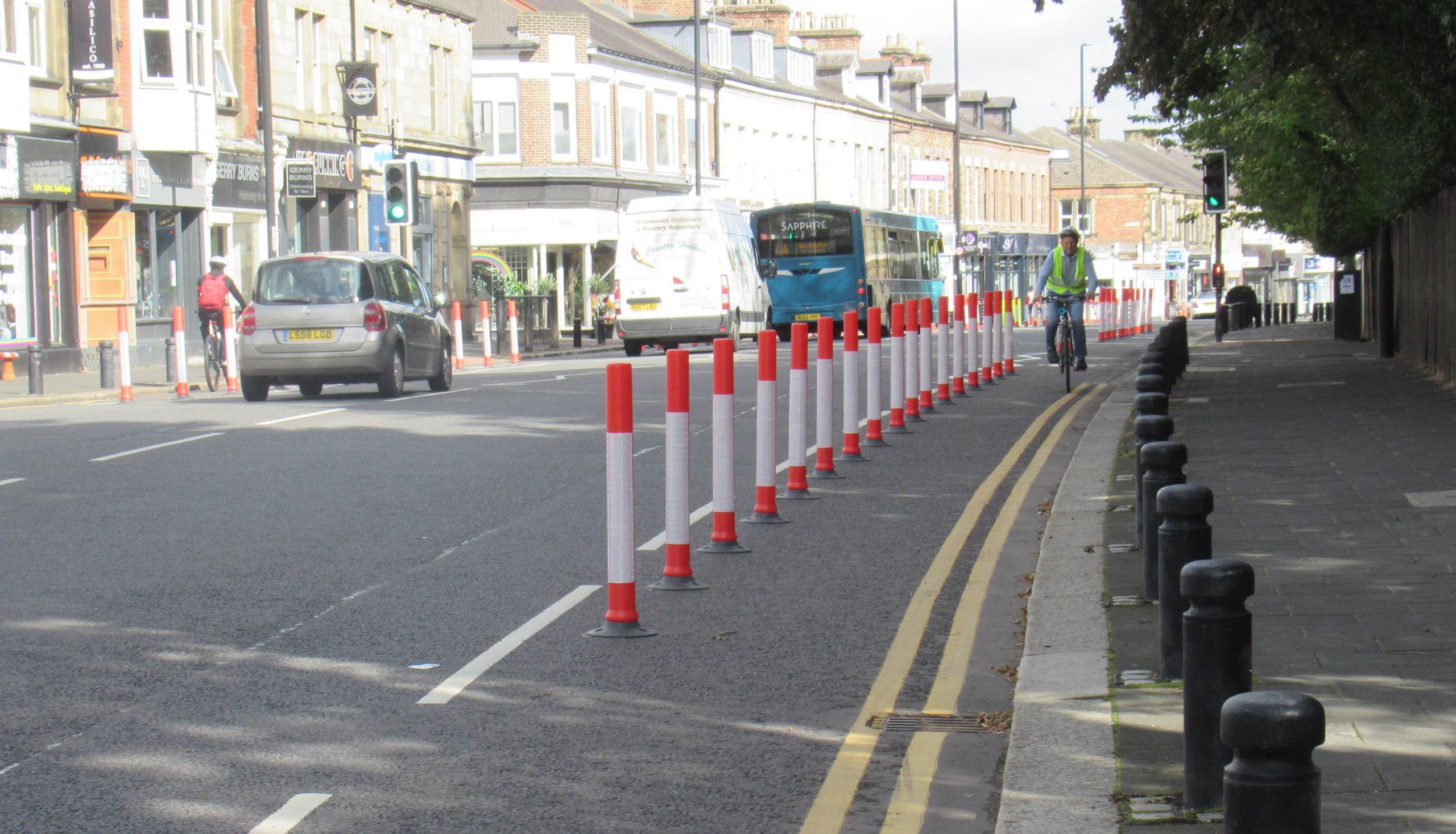 Cycle lane protected by wands southbound by Elmfield Road