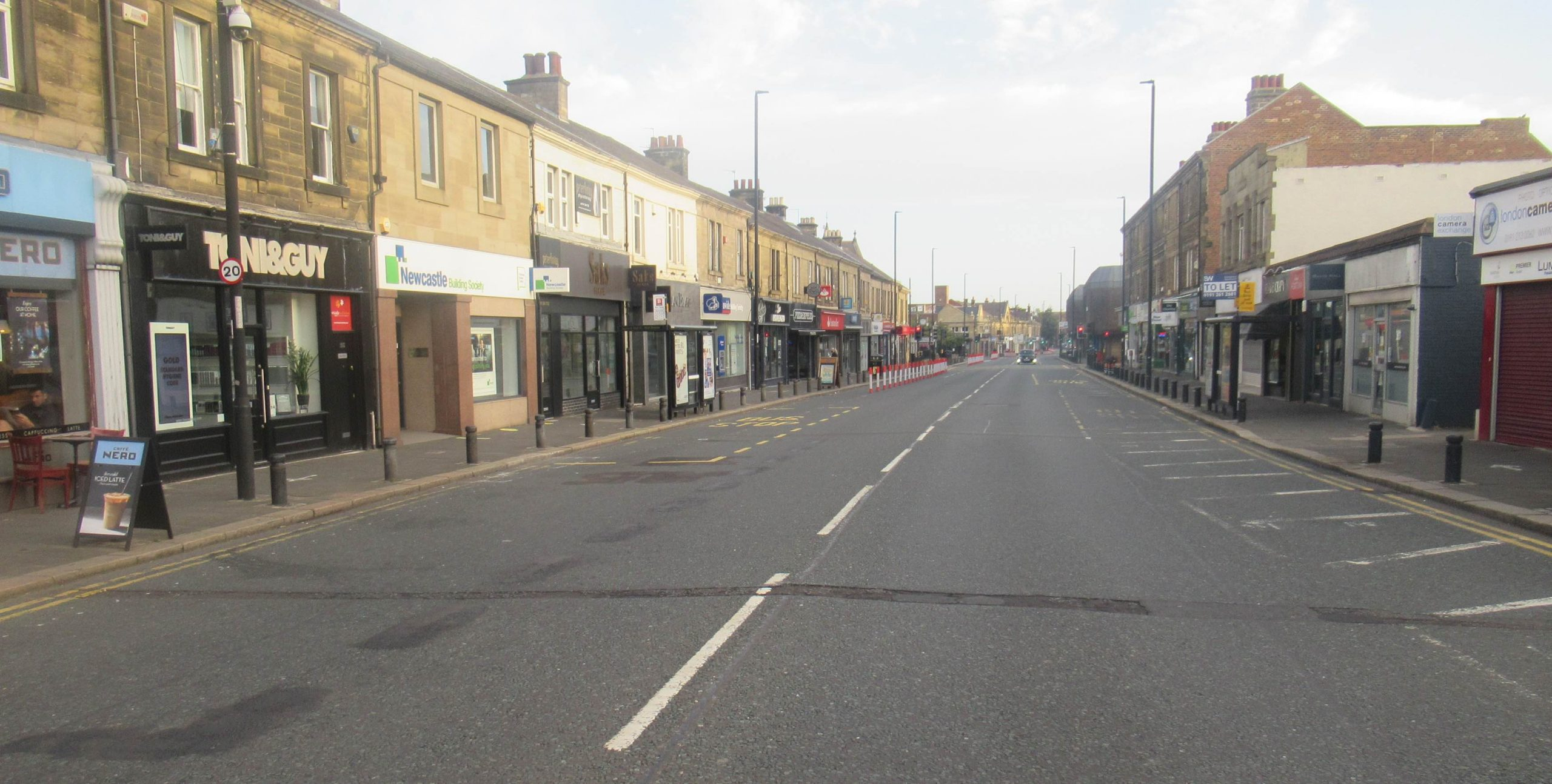 Gosforth High Street looking north from the County showing a very wide road with no measures