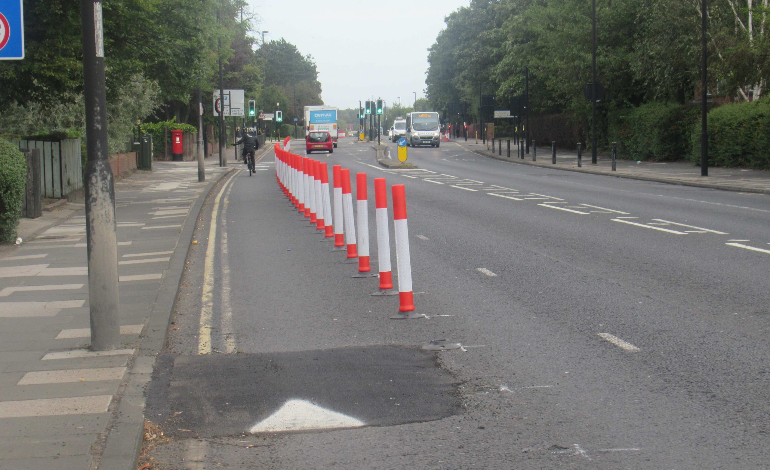 North bound cycle lane protected by wands south of Regent Centre
