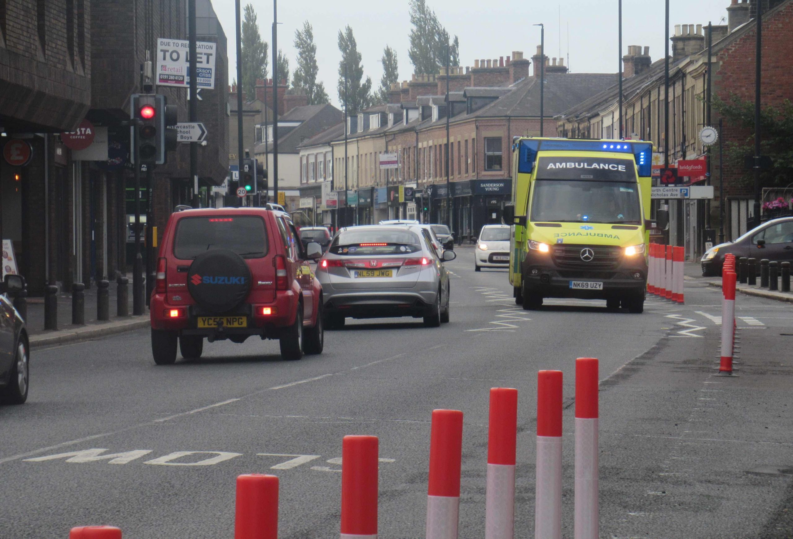 Ambulance heading north by Gosforth Shopping Centre