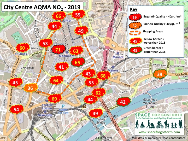 Map showing illegal levels of air quality in 2019 in Newcastle City Centre