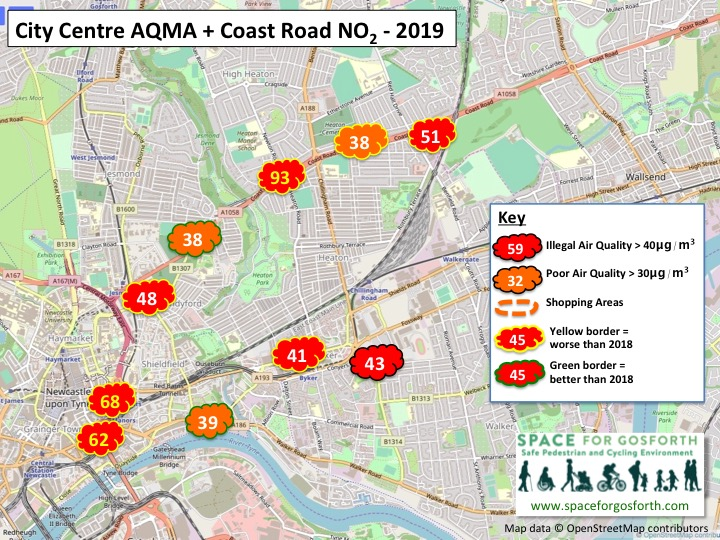 Map showing illegal levels of air quality in 2019 along the Coast Road