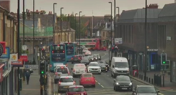 Picture of Gosforth High Street full of vehicles May 2019