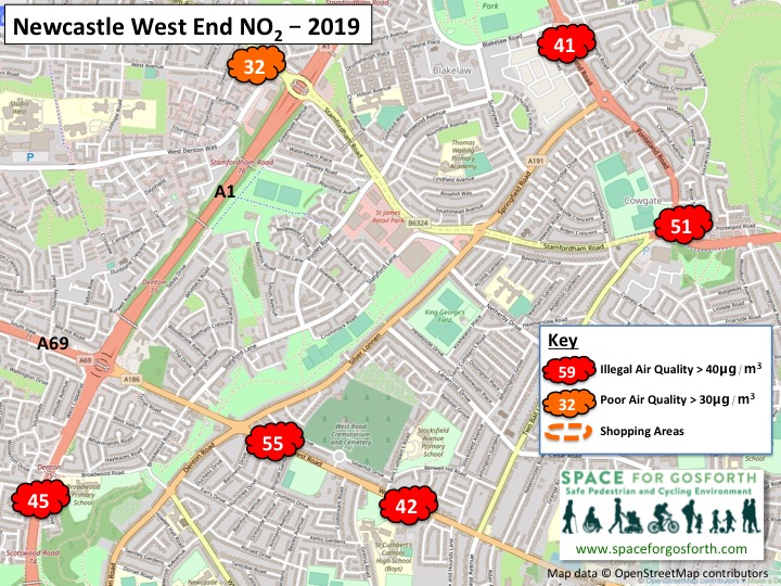 Map showing illegal levels of air quality in 2019 in Newcastle West End