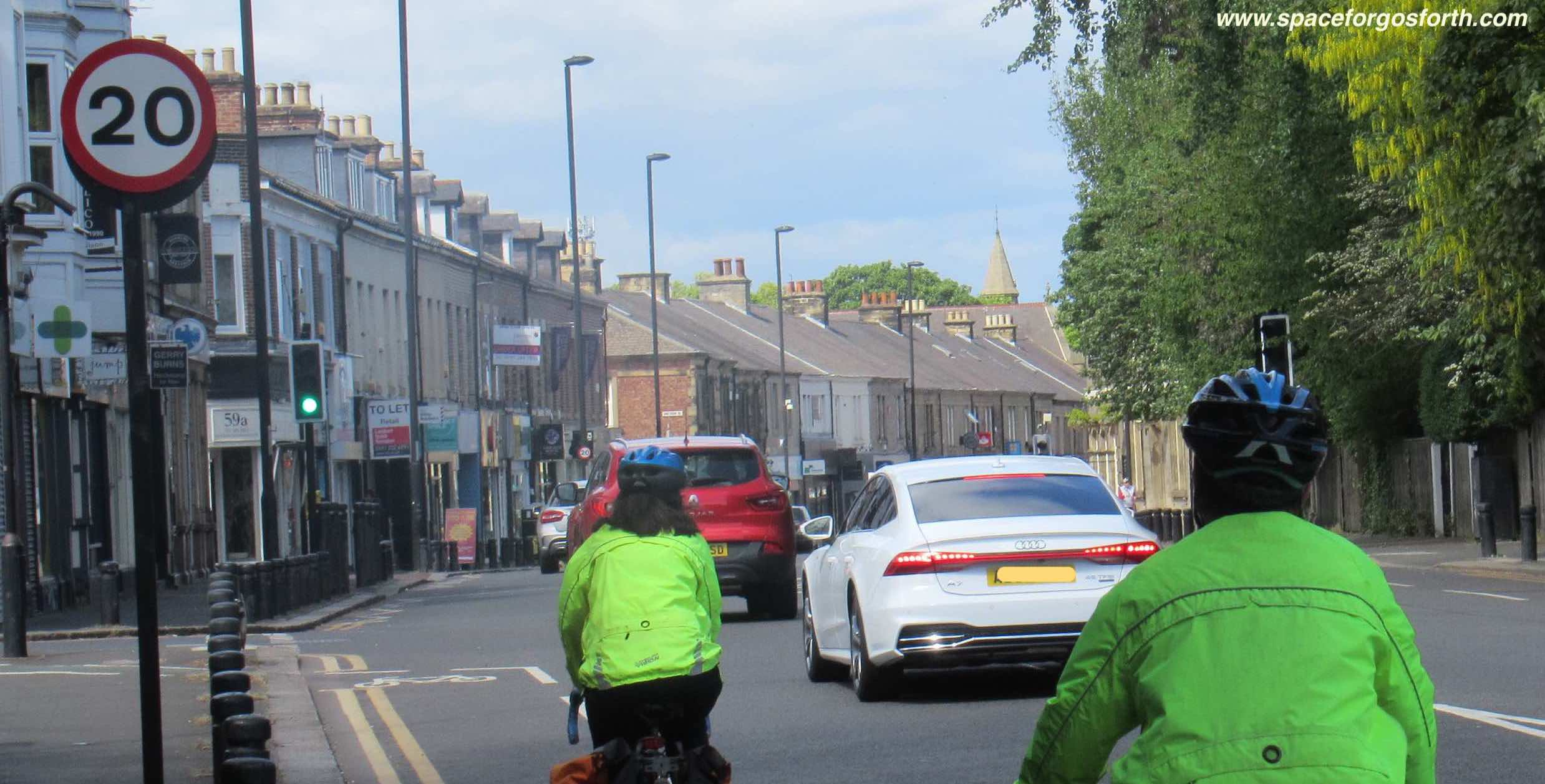 Picture of Gosforth High Street with 20mph sign