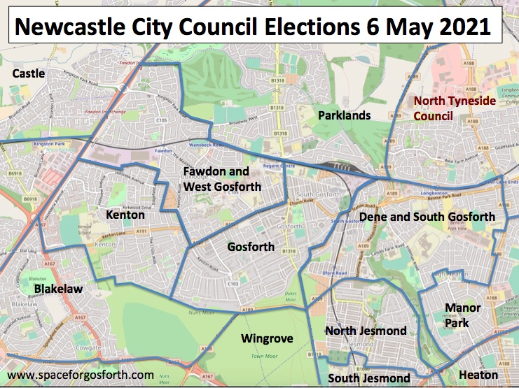Map of local Council wards centred on Gosforth