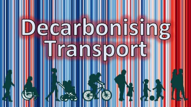 Climate Stripes from Durham overlaid by text 'Decarbonising Transport' and part of the SPACE for Gosforth logo