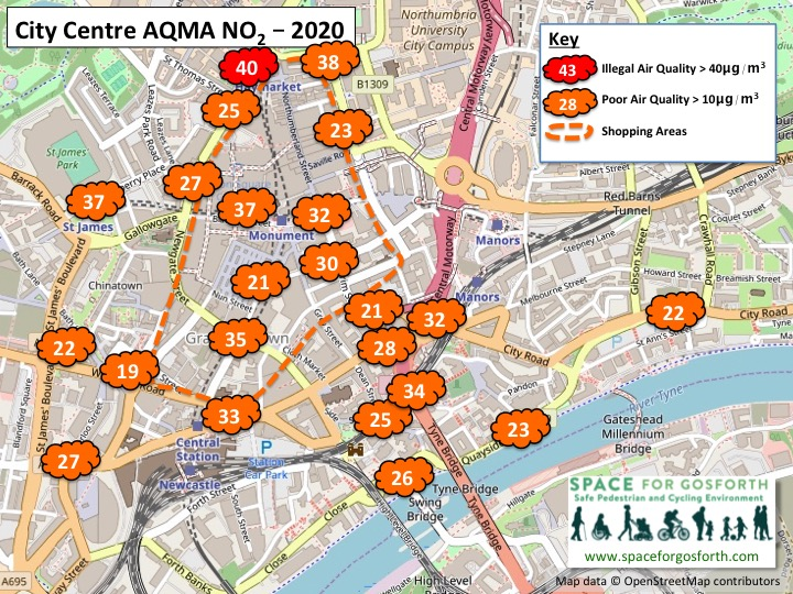 Map showing pollution readings at Newcastle city centre. No readings were above the legal limit in 2020. Percy Street was at the legal limit.