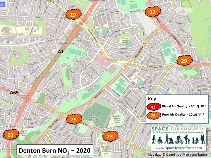 Map showing pollution readings west of the city near Denton Burn. No readings were above the legal limit in 2020.